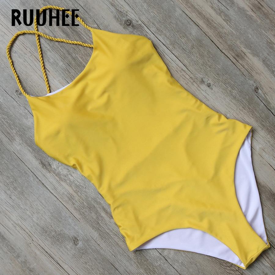 RUUHEE Swimwear Women One Piece Swimsuit Bodysuit 2018 Bathing Suit Monokini Sexy Cross Strap Swimming Suit For Women Bikini