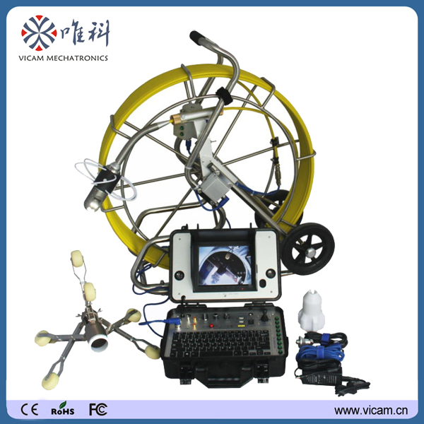 60m to 120m CCTV inspection camera robot 360 degree rotate video pipeline inspection equipment with 512hz