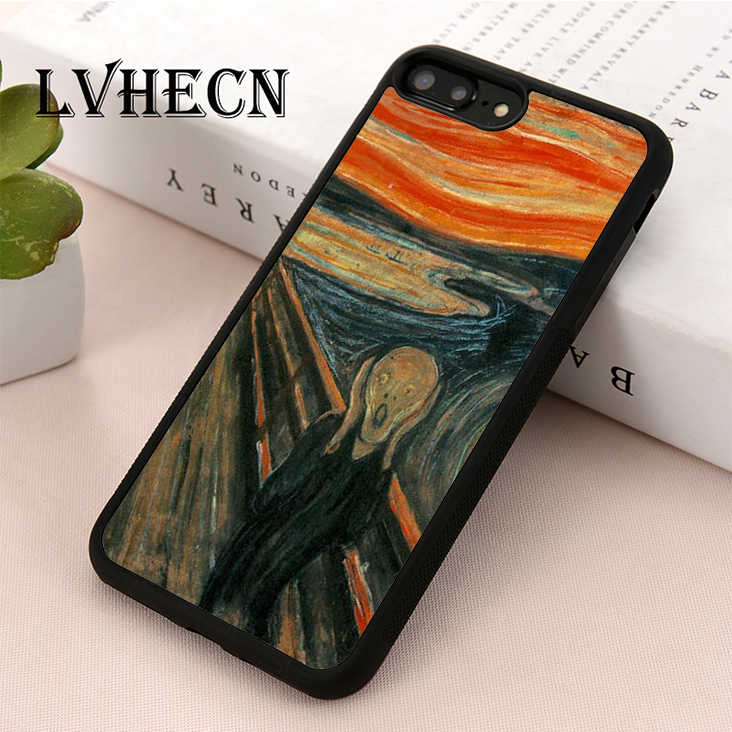 Lvhecn Tpu Kulit Phone Case Cover UNTUK iPhone 5 5S SE 6 6 S 7 7 Plus X XR XS Max Scream Edvard Munch