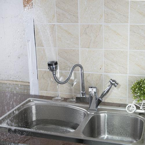 92347B Chrome Pull out Down Spray Stream Deck Mount Double Handles Basin Sink Vessel Kitchen Torneira Cozinha Tap Mixer Faucet 8471 4 single handle cold stream deck mount single handles wash basin sink vessel kitchen torneira cozinha tap mixer faucet
