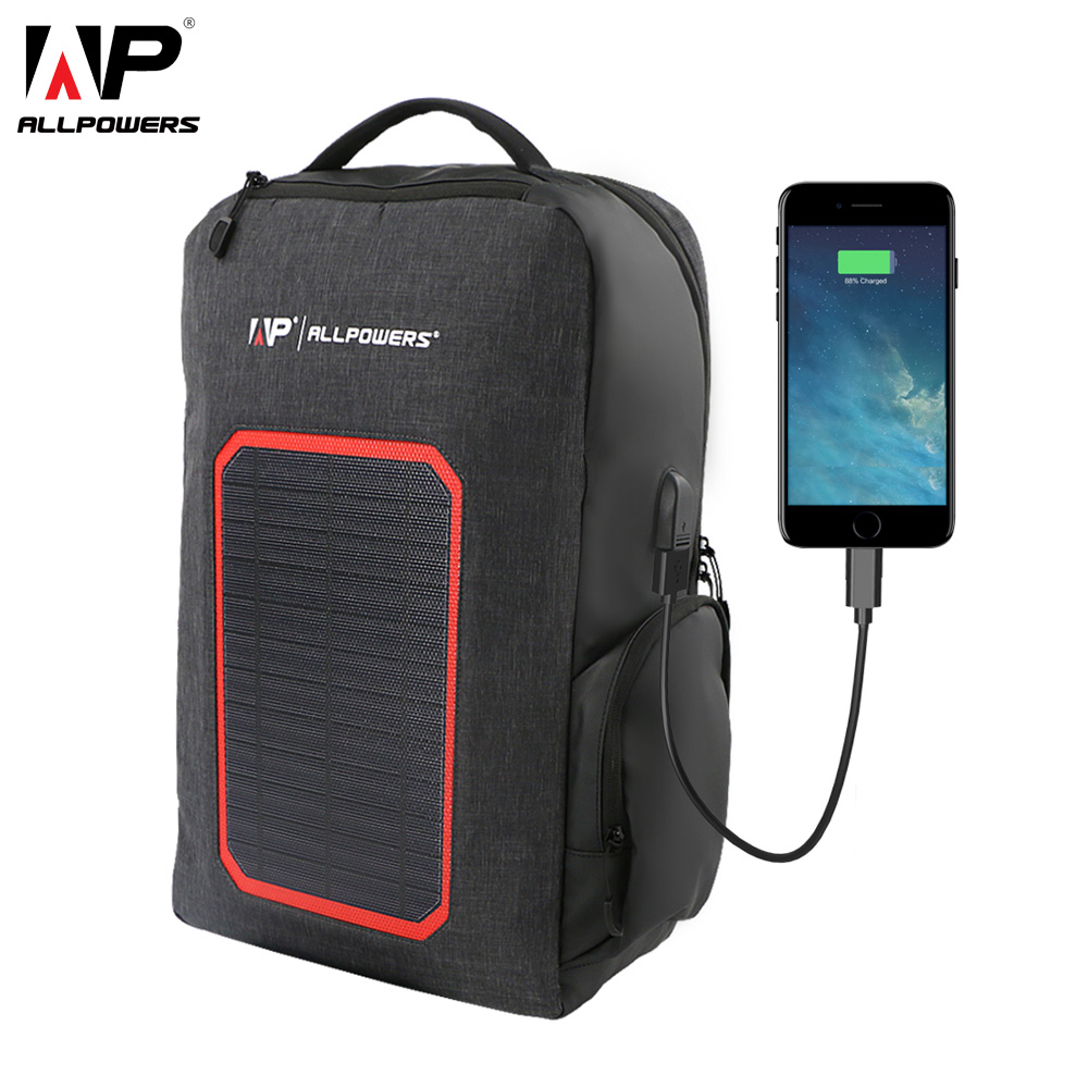 ALLPOWERS Solar Power Bank 6000mAh External Battery Backpack 7W Solar Panel Charger For Camping Hiking Outdoors