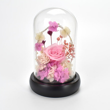 New Design Preserved Fresh Rose Flower with Light In Glass Dome Flowers For Home Decoration