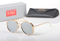 2018Vintage Steampunk Goggles Men Women Aviator Sunglasses Metal Frame Flat Mirrored Lenses Glasses Luxury Brand Designer