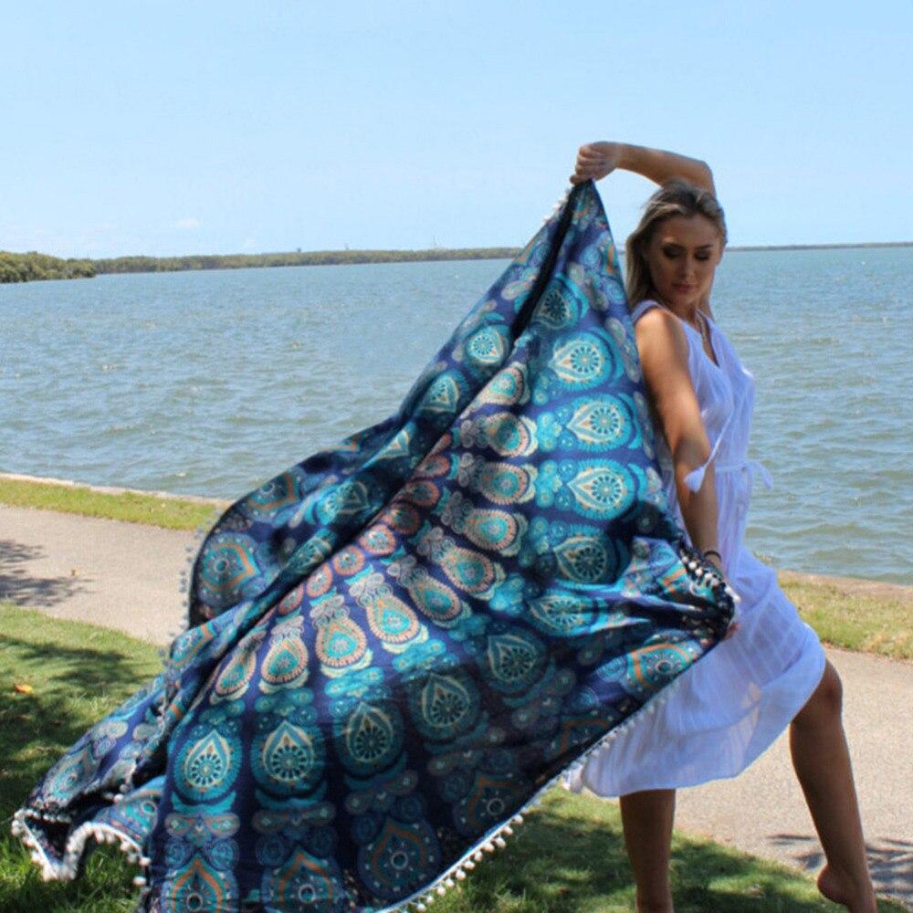 Round beach towel printing beach seaside small hair ball bath towel - Sportswear and Accessories