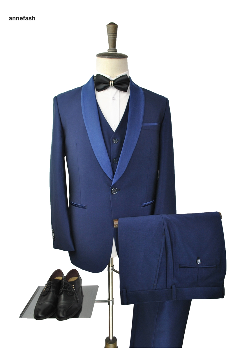 Hot sale tuxedos bright silk fabric blue men dress Shawl collar ...