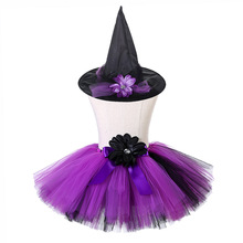 Children Mini Above Knee Tutu Skirt Girls Halloween Evil Witch Cosplay Party Purple Black Tulle with Hat