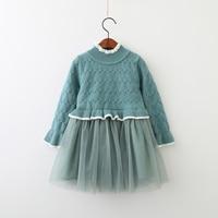 New Autumn Baby Girls Candy Cotton Mesh Knitting Dresses Princess Kids Boutique Sweater Dress Wholesale 5