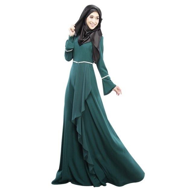 f4b99d44762 New Arrival Fashion Elegant Womens Muslim Abaya Dress Long Sleeve  Floor-Length Empire Waist Islamic Hijab Kaftan Dresses