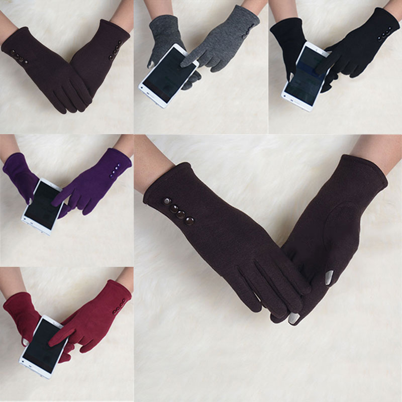 1 pair Fashion Womens Winter 4 Buttons Touch Screen Gloves Outdoor Sports Warm Gloves Mittens Mittens Cashmere -MX8