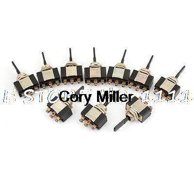 10 Pcs Panel Mount AC 2A/250V SPDT On/Off/On 3 Position Toggle Switch 1 pc new red 9 pin on off on 3 position mini toggle switch ac 6a 125v 3a 250v ve521 p