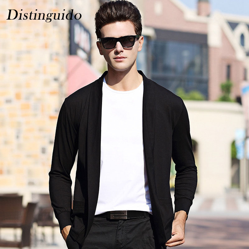 New Arrival Mens Cardigan Solid Color Long Sleeves Spring Autumn Smart Casual Busiess Ma ...
