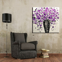 New Design Wholesale Unique Design High Quality Handmade Living Room Purple Flower Oil Painting On Canvas