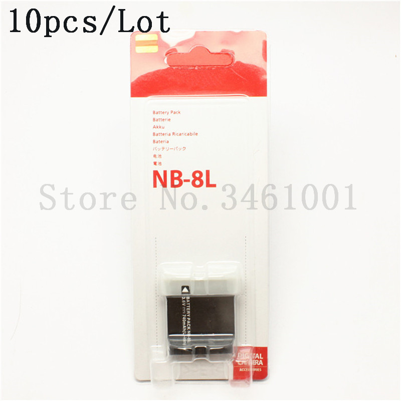 10pcs lot NB 8L Battery NB 8L 8L NB8L Batteries For Canon PowerShot A3300 A3200 A3100