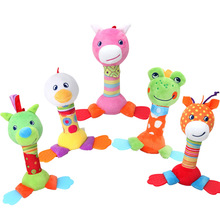 Newborn Cartoon Animal Teether Toys Baby Cute Rattle Stick Hand Grabbing Puzzle Cognitive Toy 0-12 Months