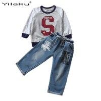 2016 Children Clothing Set Print Boys Sports Suit Letter T Shirt Strap Washed Jeans Clothes Sets