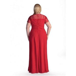 Image 5 - 로브 드 Soiree 2020 블랙 플러스 사이즈 이브닝 드레스 우아한 라인 V 목 짧은 소매 레이스 긴 공식적인 웨딩 파티 가운