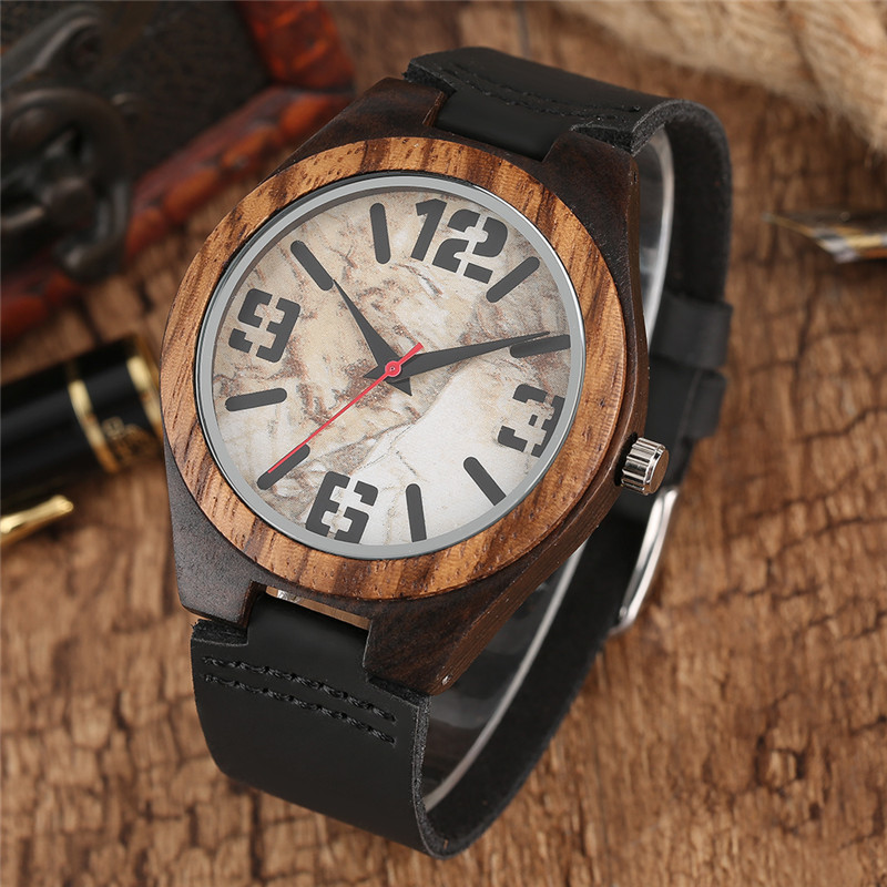 Luxury Nature Watch Men's Wood Watches Quartz Men Wristwatch Unique Wooden Clock with Black Genuine Leather Watchband New Hours ultra luxury 2 3 5 modes german motor watch winder white color wooden black pu leater inside automatic watch winder