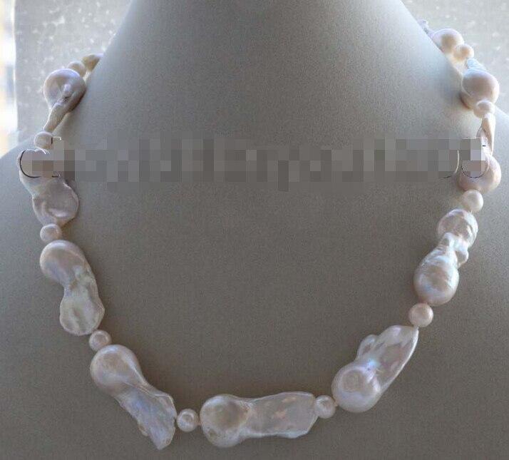 Из натуральной 36 мм белый Reborn Кеши жемчужное ожерелье 14KGP # f1865!