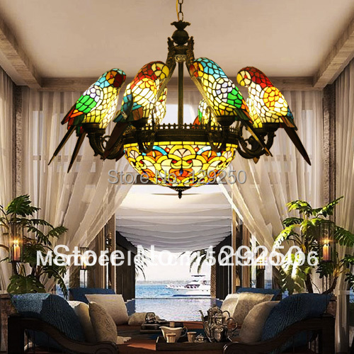 Tiffany Style Stained Glass Eight Parrot Chandelier Must