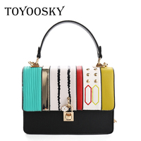 TOYOOSKY Women Leather Shoulder Bag Women's Casual Handbag Fashion Patchwork Ladies Crossbody Bags Rivet Panelled Women Bag