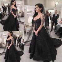 Vintage Black Wedding Dresses Long 2020 Gothic robe de marieeSpaghetti Straps Lace Wedding Gowns Handmade Formal Bride Dress