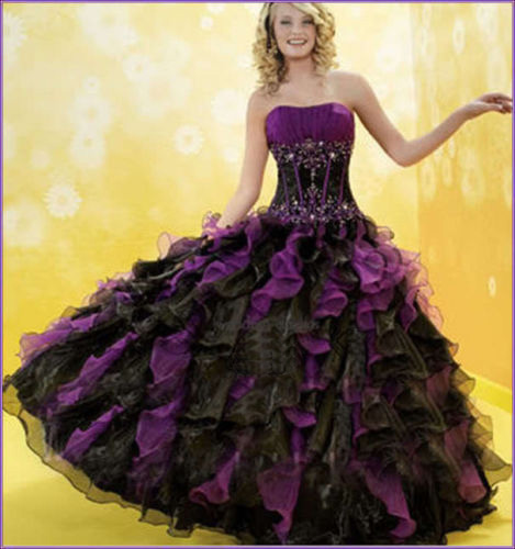 Popular Plus Size Gothic Wedding Gowns Buy Cheap Plus Size: Cheap Black And Purple Quinceanera Dress Appliques Organza