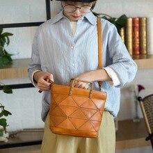 Retro leather handbags Wenyi Sen simple first layer leather handbag casual shoulder Messenger bag стоимость