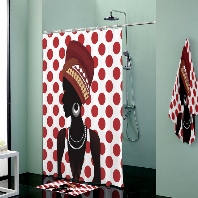 African Woman Print Custom Shower Curtains Set Towels Curtain Bath Mat Towel Bathroom Body