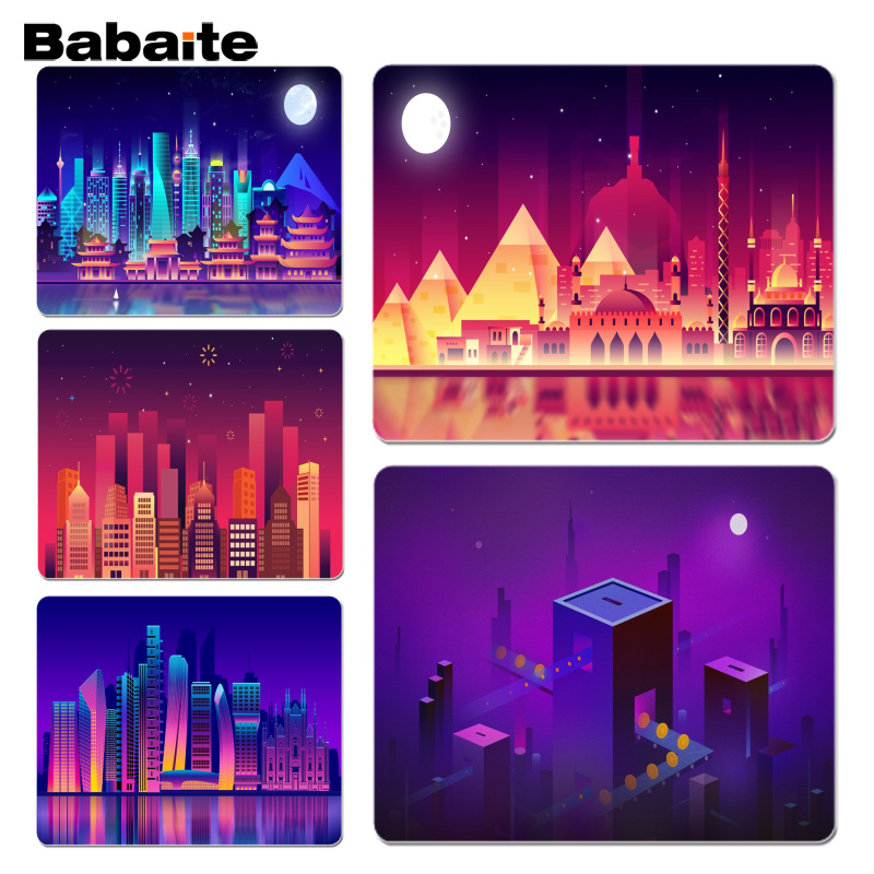 Babaite Vintage Cool Gradient city buildings gamer play mats Mousepad Size for 18x22cm 25x29cm Rubber Mousemats