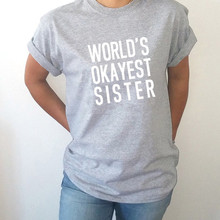 LUSLOS  Sister Worlds Okayest Womens T Shirt Mothers Day Gift Birthday Cool Short Sleeve