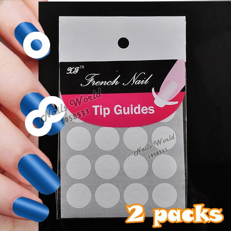 ᐂ2 Packs White French Nails Art Tips Tape Manicure Sticker Guide ...
