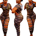 2016 New Sexy Women Bodysuit Camouflage Short Sleeve Hollow out Front Zipper Playsuit Leotard Jumpsuit Overalls Hot Sale