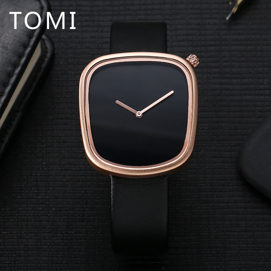 Mens Watches Top Brand Luxury TOMI Brand Fashion Business Watch Square Leather Quartz WristWatches Dress Watches Sport Relogio tomi luxury business watch mens fashion brand sport waterproof quartz wristwatches fashion luxury mens leather dress watches