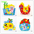 HAPPYXUAN 4pcs/lot Eva Cartoon Pen Holder Handmade Foam Craft Kits Kids DIY Container for Pens Educational toys for Children