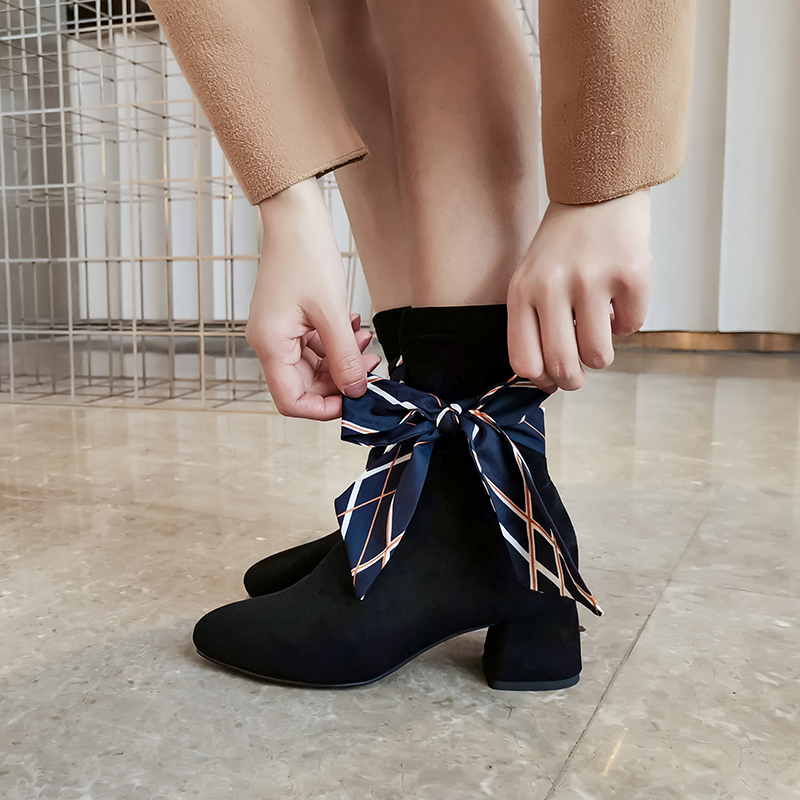 Women Autumn Boots Fashion Women Boots Genuine Leather Bowties 5 5cm in Ankle Boots from Shoes