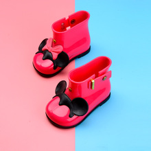 Melissa Shoes Mickey Head Girl Rain Boots 2018 New Girls Boots Water Shoes Baby Shoes Jelly Sandals Waterproof 13.5-18.5cm