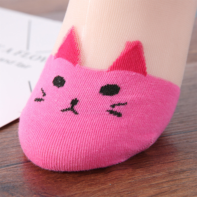 Ankle Sock Lovely Fashion Invisible Clothing Accessories Cut Transparent 7 Colors Cat Printed Women Promotional Low