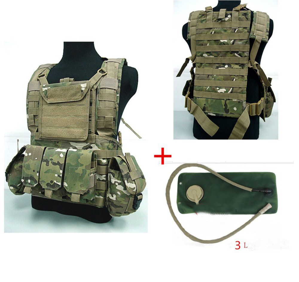 3 litres of water bag Military USMC Tactical Combat Molle RRV Chest Rig Paintball Harness Airsoft Vest Multicam ht156