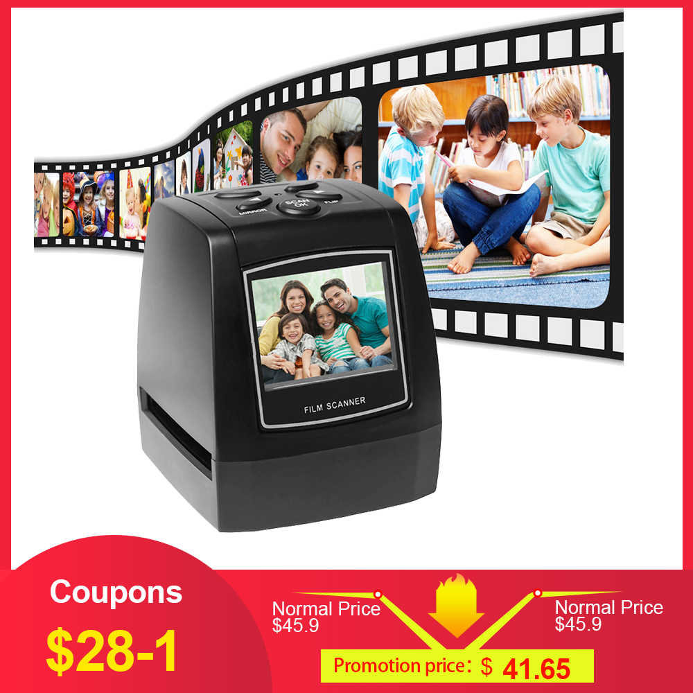 "Protable Negative Film Scanner 35mm 135mm Slide Film Converter Photo Digital Image Viewer with 2.4"" LCD Build-in Editing Softwar"