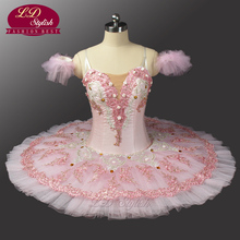 Pink Peach Fairy Professional Ballet Tutu With Flowers For Adults Children Girls Dress 0082