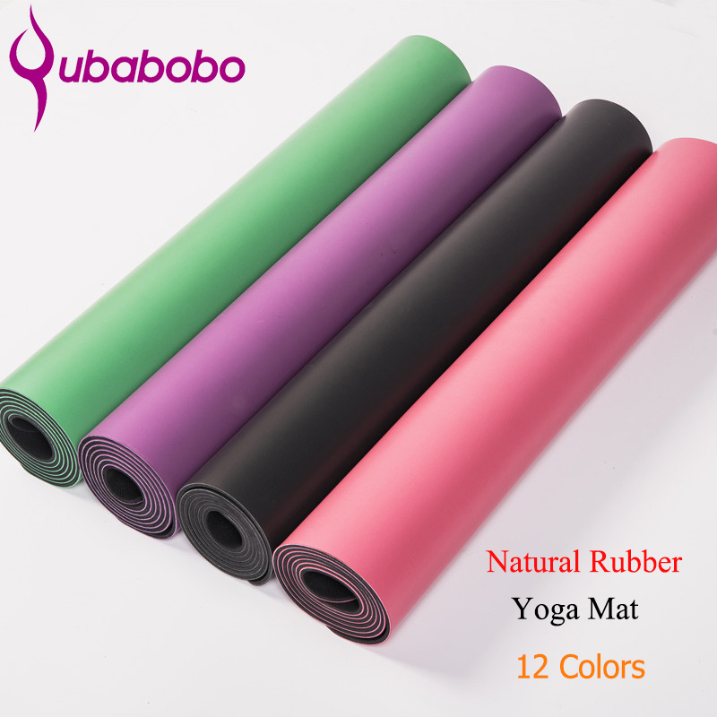 5MM Thick Non-slip Natural Rubber Yoga Mats For Fitness PU Pilates Gymnastics Mats 12 Colors Yoga Exercise Pads ( 180*66*0.5cm ) gymnastics mat thick four folding panel fitness exercise 2 4mx1 2mx3cm