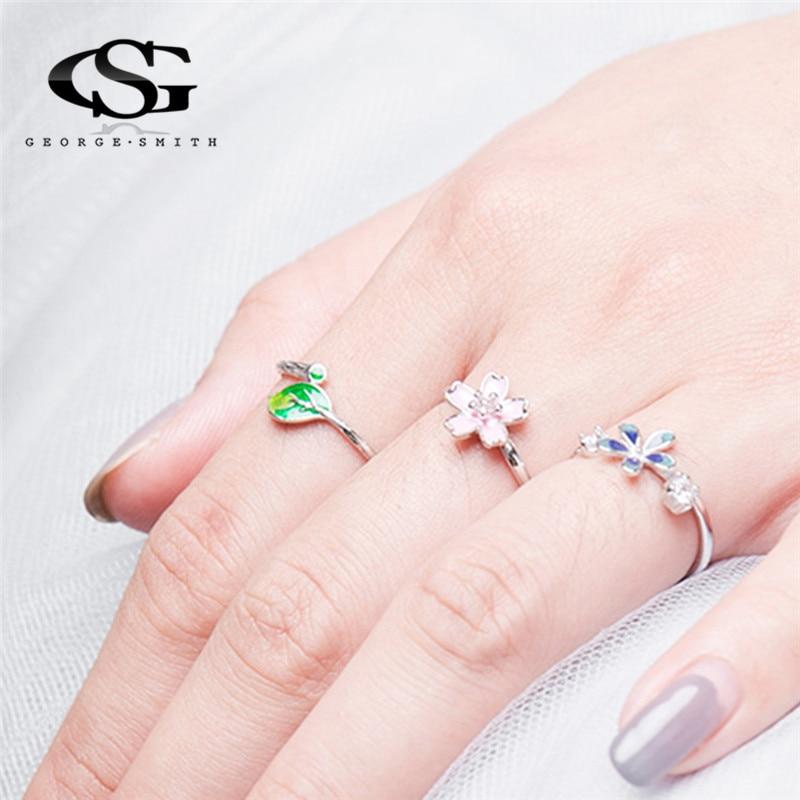 1ef57d9b00fb GS 925 Anillos de plata esterlina para las mujeres árbol verde hoja Mujer  anillo Apertura de dedo ajustable Anillos Mujer 2018 r5 en Anillos de  Joyería y ...