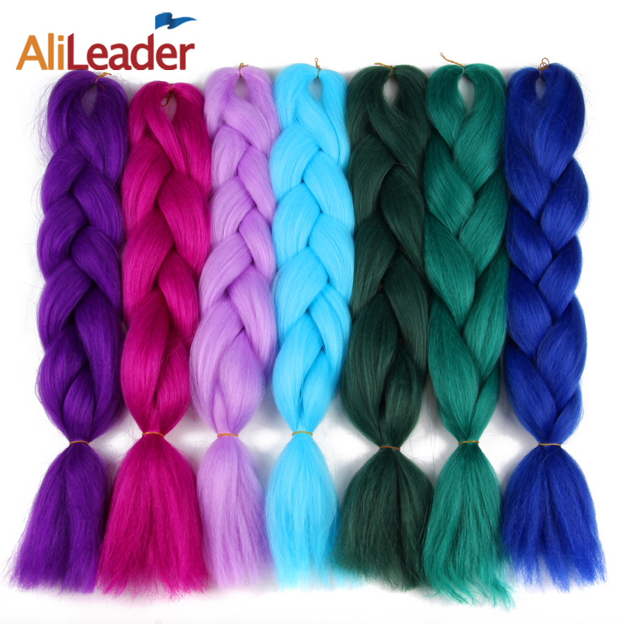 Jumbo Braids Luxury 1pack 80g Solid 24 60cm Folded 100g Ombre Green Purple Lavender Lilac Kanekalon Synthetic Jumbo Braiding Hair For Dreads Up-To-Date Styling Hair Braids