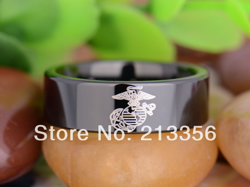 free shipping uk russia brazil usa hot selling 8mm black pipe military army marines mens - Military Wedding Rings