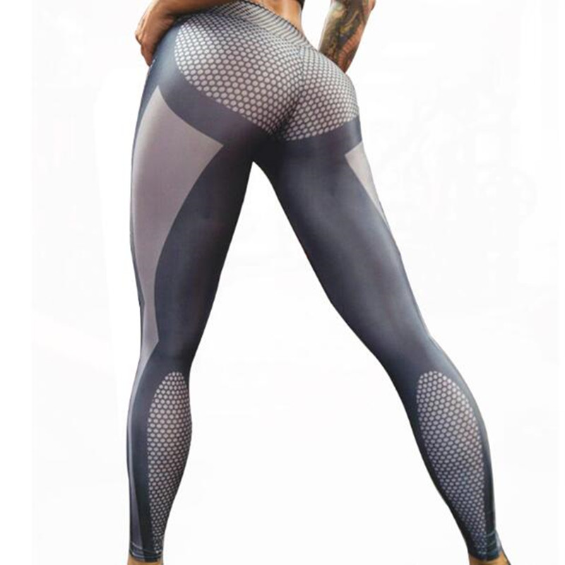 2017 Sexy womens movement of tall waist hip sex have thin Bodycon print smooth exercise Legins trousers grey Jeggings gothic