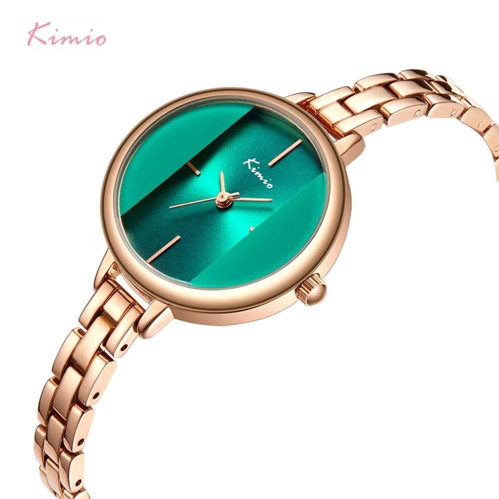 цена Kimio Brand Women Green Creative Watch Ladies Waterproof Bracelet Dress Watches 2018 Stainless Steel Wristwatch Relogio Feminino онлайн в 2017 году