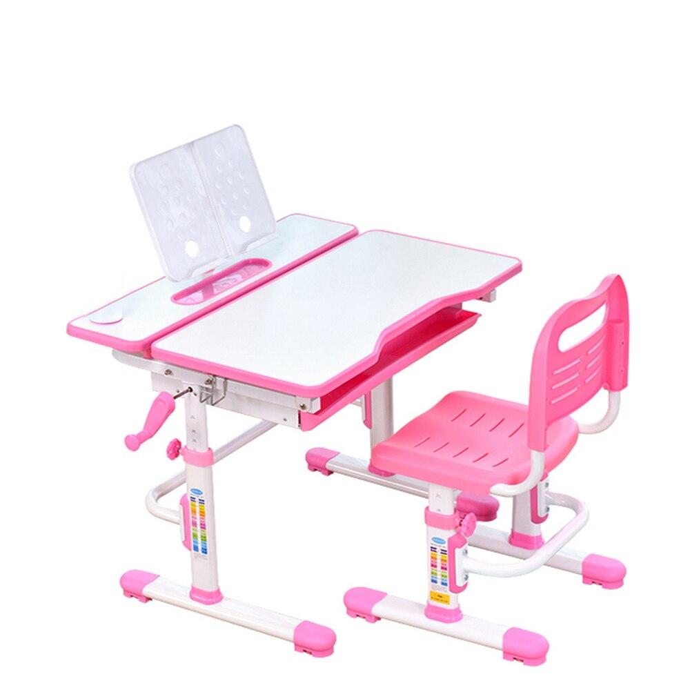 Kids study table hand-cranked lift Adjustable desk and chair Combination boys and girls Homework kinder 80CM Corrective posture