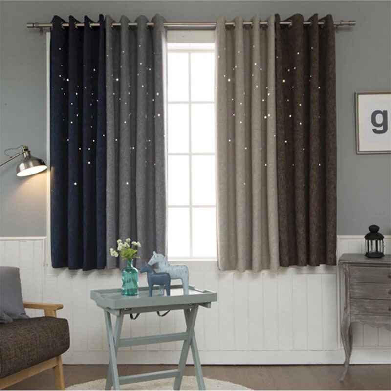 Hollow Curtains For Living Room Modern Bedroom Decorations Solid Window Treatments Star Pattern Blackout Panel A235