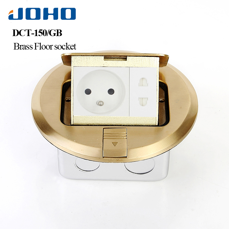 все цены на JOHO Ground Socket Insertion Google Home Round Type Floor Outlet With RJ45 Socket 16A Socket Slow Pop Upelectrical Outlets онлайн