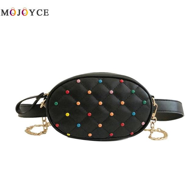 2 ways wearing Women Colorful Beads Lattice PU Leather Belt Bag Women Chain Waist Bag Girls Fanny Pack
